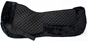 CHALLENGER Horse English Quilted Half Saddle Pad Correction Wither Relief Fur Black 12218BK