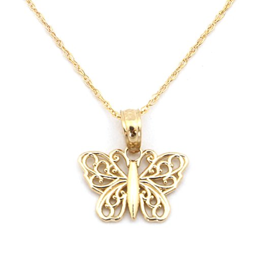 14k Yellow Gold Butterfly Chain (14k Yellow Gold Small Filigree Butterfly Pendant Necklace - 16