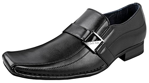 Delli Aldo Mens Felipe Loafers | Comfortable Dress Shoes | Formal | Classic Design | Black 7.5