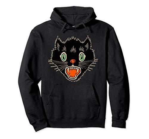 Vintage Halloween Scary Black Cat Horror Gift Hoodie