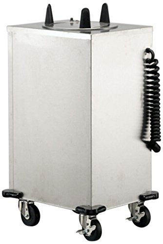Lakeside 6110 Regular Mobile Plate Dispenser, Stainless Steel Cabinet, 1 Stack, Heated, Accommodates Plates 9-1/4