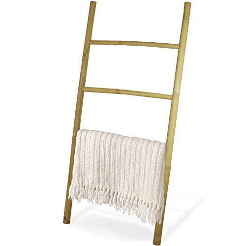 Decorative 4.9 Foot Natural Beige Bamboo Wall-Leaning Towel Ladder/Rack, Made in Indonesia