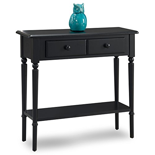 Leick 20027-BK Coastal Narrow Hall Stand/Sofa Table with Shelf, Swan Black by Leick Furniture