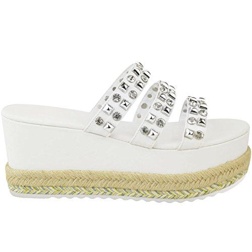 Enfiler Fashion pour Cuir Thirsty l'été pour à Clous Blanc à Sandales Imitation à Plateforme Semelle Femme CYcSqCW