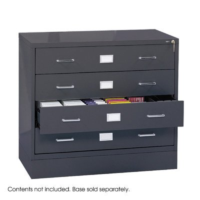 Computer Multimedia Cabinet with Library Style Drawers Finish: Charcoal