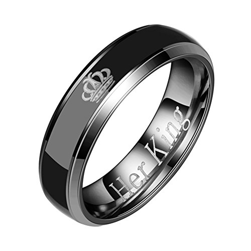 lightclub Couple Gift Wedding Anniversary Titanium Steel Crown His Queen Her King Band Ring Rings for Couple Black Her King 9