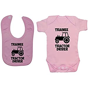Acce Products Trainee Tractor Driver Baby Bodysuit/Romper & Feeding Bib 0 to 12 Months