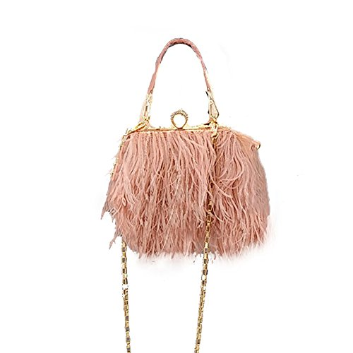 (RoseSummer Women Fluffy Ostrich Feather Round Clutch Purse Shoulder Bag)