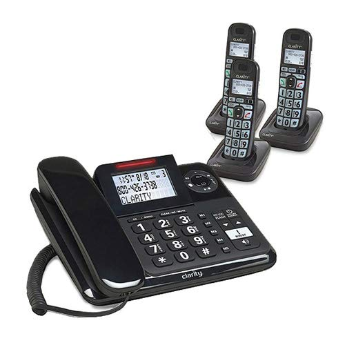 Clarity E814 Moderate Hearing Loss Cordless Phone with E814HS Expandable Handset Bundles (Clarity E814 with 3 E814HS)