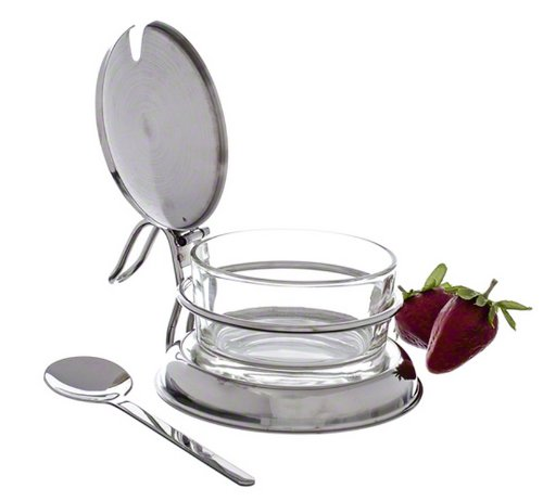 Tablecraft 6 oz Glass Condiment Jar & Spoon Tabletop Set | Commerical Quality for Restaurant or Home ()