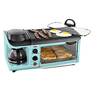 Nostalgia BST3AQ Retro 3-in-1 Family Size Electric Breakfast Station, Coffeemaker, Griddle, Toaster Oven, Aqua
