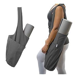 Yogiii Yoga Mat Bag | The ORIGINAL YogiiiTote | Yoga Mat Tote Sling Carrier w/Large Side Pocket & Zipper Pocket | Fits Mats (Ash Gray)