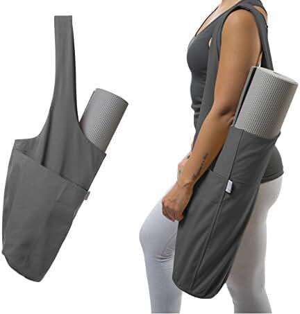 Yoga Mat Bag by Yogiii | The ORIGINAL YogiiiTote | Yoga Mat Tote Sling Carrier w/ Large Side Pocket & Zipper Pocket | Fits Most Size Mats