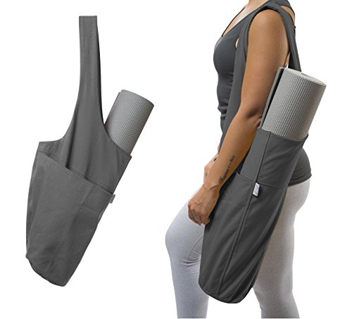Yoga Mat Bag by Yogiii | The YogiiiTote | Yoga Mat Tote Sling Carrier w/ Large Side Pocket & Zipper Pocket | Fits All Size Mats (Ash Gray)