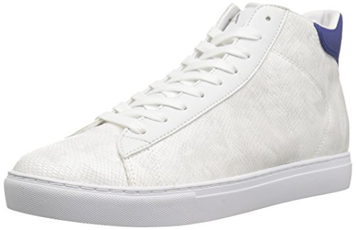A|X Armani Exchange Men's Python Print High Top Sneaker, White, 10 Medium US
