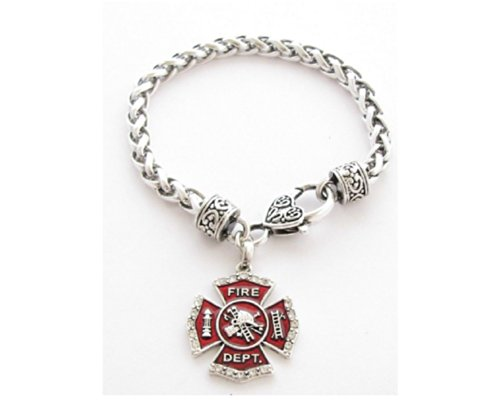 FIREFIGHTER Red Maltese Cross Charm Bracelet with Beautiful Heart Lobster Clasp.Small Crystal Rhinestones Outline the Edges of Red Enamel Cross