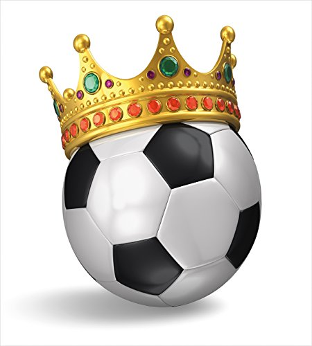 Ambesonne King Duvet Cover Set, Football Soccer Sports Championship Inspired Ball Crown with Ornaments Image Print, Decorative 2 Piece Bedding Set with 1 Pillow Sham, Twin Size, Multicolor