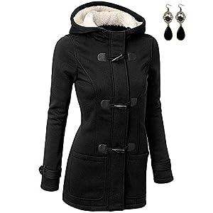 BYD Mujeres Espesar Hoodie Chaquetas Sudaderas con Capucha Encapuchada Abrigo con Horn Botones Jacket Cardigans Tops | DeHippies.com