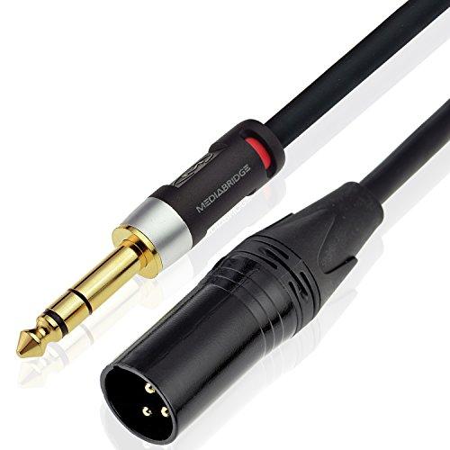 Mediabridge Ultra Series XLR Male To 1/4 Inch Cable (6 Feet) - XLR Male To Balanced Mono 1/4 Inch TRS Male (Part# MC-XM-TRS-6 )
