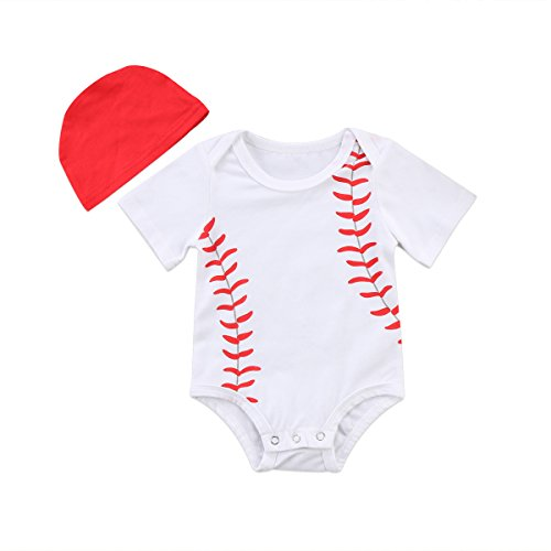 XARAZA Infant Baby Boys Girls Short Sleeve Baseball Romper Pullover Bodysuit with Hat (White, 0-3 -