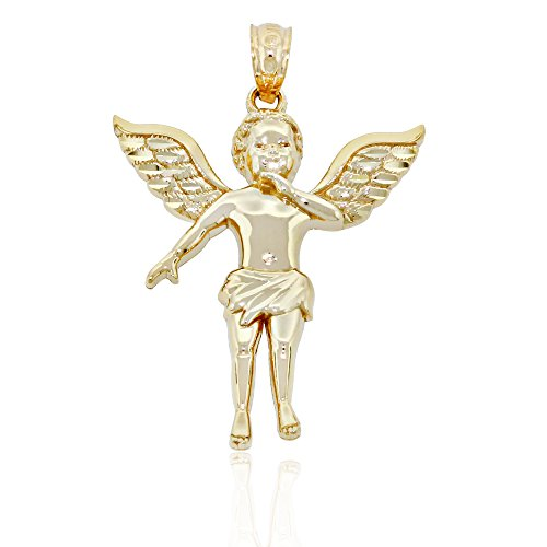 14k Gold Cherub (Gold Baby Angel Cherub Charm, 14k Solid Gold)