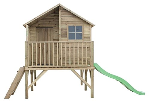 Stelzenhaus Jessica- Spielturm Holz mit Rutsche für den Garten, FSC zertifieziert/ TÜV geprüft inkl. Dachpappe (Stelzenhaus mit Rutsche)