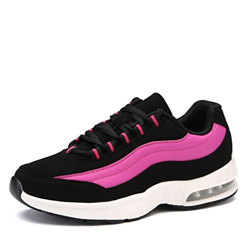 LanFengeu Damen Sportschuhe Luftpolster Antirutsche Atmungsaktiv Erhöhte Freizeitschuhe für Tanzen Tennisschuhe Bequeme Straßenlaufschuhe Schwarz,Pink