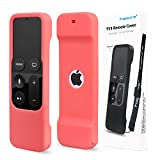 Remote Protective Case for Apple TV 4th Remote Controller, Hapurs Anti-Slip Silicone Light Weight Cover Case with a Lanyard for Apple TV 4th Generation Siri Remote Controller-Red
