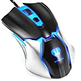 Gaming Mouse,Henscoqi Wired Gaming Mice USB Cool Blue LED Light Computer Laptop PC Game Mouse with 6 Programmable Buttons, 3200DPI 4 Adjustable DPI Level for Office and MOBA RTS Games