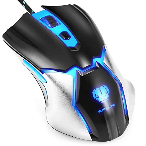 Gaming Mouse,Henscoqi Wired Gaming Mice USB Cool Blue LED Light Computer Laptop PC Game Mouse with 6 Programmable Buttons, 4 Adjustable DPI Level for Office and MOBA RTS Games