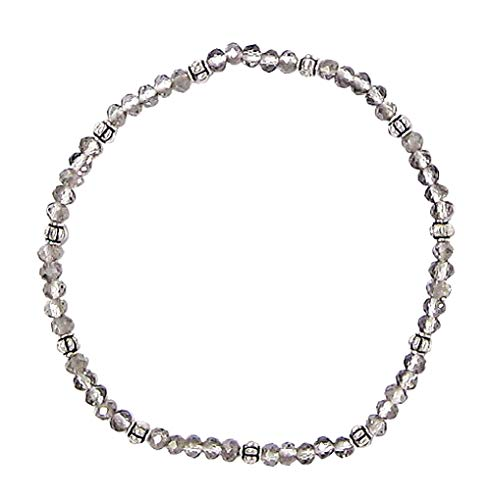 - Stretch Bead Ankle Bracelet Anklet - Grey (A108)