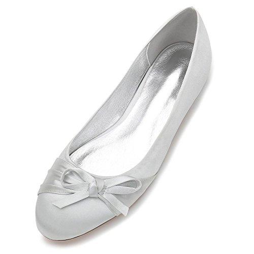L@YC Zapatos De La Boda De Las Mujeres Punta Redonda Cerrado Pajarita Nupcial Partido De Gran TamañO / F5049-15 Silver