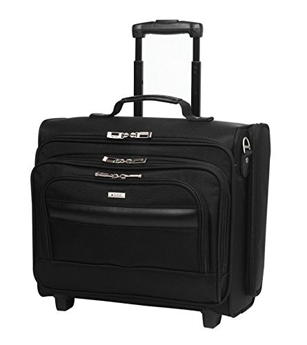 Single Piece Black Wheeling Briefcase, 15.4-inch Laptop Briefcase, Multi-Compartment, Business, Softsided, Wheeled Type, Polyester Material, Solid Pattern, Telescopic Handle System