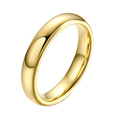Heyrock Simple 4mm 6mm Real Tungsten Gold Wedding Rings For Men