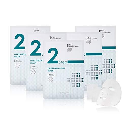 Easydew 2-Step Gauze Dressing Hydra Sheet Mask for Skin Calming and Revitalizing. Award-winning Korean Face Mask with DW-EGF, Azulene, AQUAXYL & Ceramide.5 Pairs