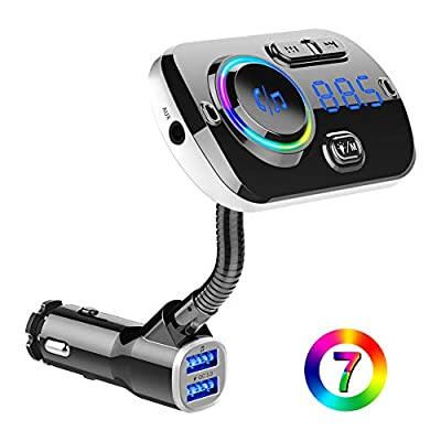 BTMAGIC Bluetooth FM Transmitter, 7 Color LED Car Adapter with QC3.0, Siri Google Assistant, Handsfree Car Kit: Home Audio & Theater