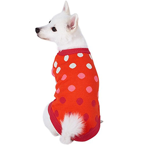 Blueberry Pet 7 Patterns All Time Favorite Rosy Pink and Red Polka Dots Designer Dog Sweater, Back Length 12
