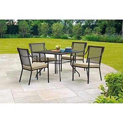 Mainstays Bellingham Outdoor 5-Piece Patio Furniture Dining Set, Seats 4 - Durable, powder-coated steel frames 100 percent outdoor printed fabric (filling material: 100 percent polyester) for the cushion Cushions are easy to remove for storage Some assembly required, stacking chair easy to storage - patio-furniture, dining-sets-patio-funiture, patio - 41osAbyhmwL. SS400  -