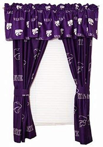 Kansas State Wildcats - (1) Printed Curtain Valance/Drape Set (Drape Length 84 Inches) to Decorate One Window - NCAA College Licensed Window Treatment