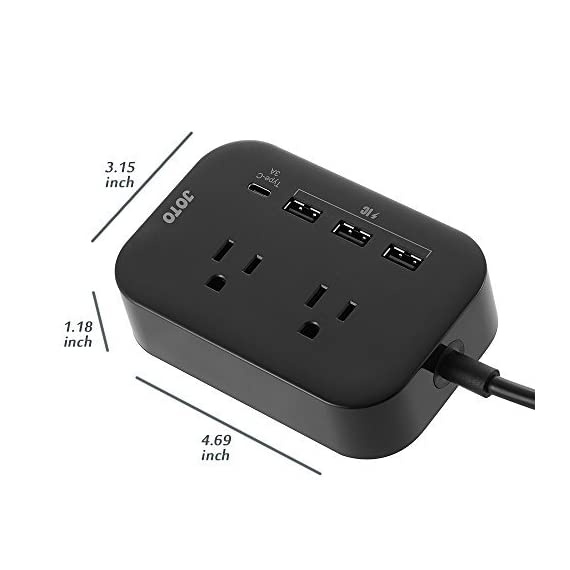 JOTO 2 Outlet Surge Protector Power Strip with USB Smart Charger (4 Port,5V 7.4A),with Type C Charging Port,6.6ft Cord, Home Office Travel Charger Station for iPhone iPad Samsung Tablets Laptop 2 All in One Design: 2 outlets Surge Protector + 4 USB Charging ports (1x Type C, 3x USB-A), convenient one-stop charging experience for you. You can charge your cellphones, tablets, laptops, digital cameras and other USB / Type C devices at the same time Portable Size: This mini power strip charger can fit right into your palm; it is perfect for home/office use, and convenient to carry around and take away for travel Smart IC Technology: Chip inside intelligently detects the input current of the connected devices to maximize both compatibility and charging speed ( Each USB ports: 5V 2.4A Max, Type C port: 5V 3A Max)