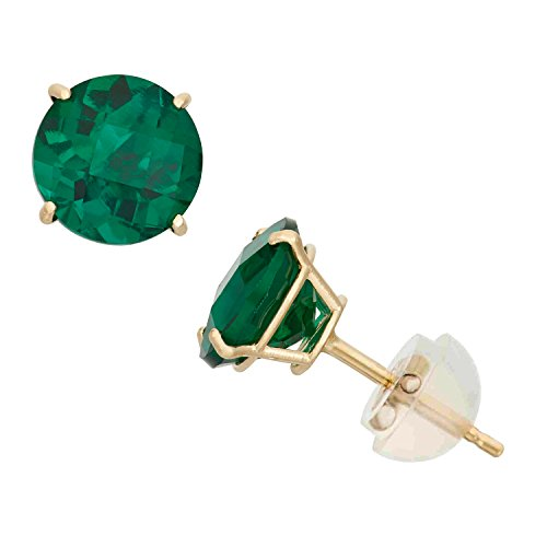 Simulated Emerald Round Stud Earrings in 10K Yellow Gold, 6mm, Comfort Fit by Celebration Moments