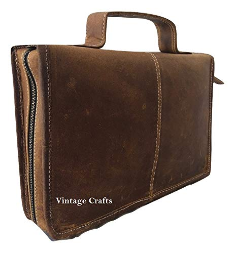 Leather Classic Bible Cover Book Cover Planner Cover with Back Pocket Brown