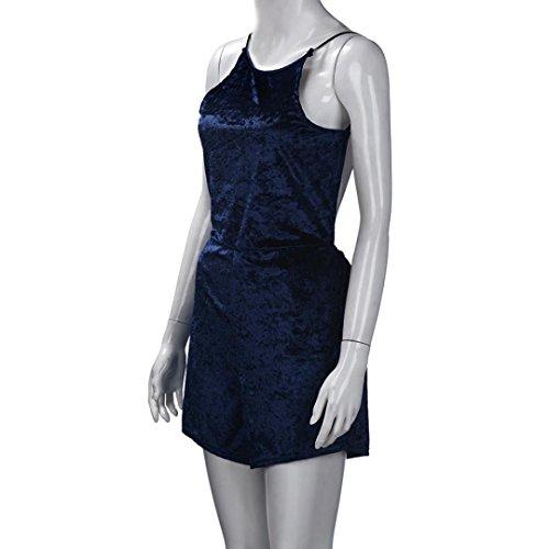 vestidos de mujer,Switchali MujerEscotado por detrásModa Traje de baño Señoras Terciopelo Mono Verano Traje de playa verano sin mangas Romper Azul
