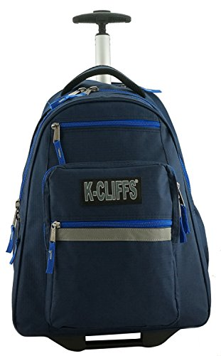 K-Cliffs Heavy Duty Rolling Backpack School Backpack with Wheels Deluxe Trolley Book Bag Wheeled Daypack Multiple Pockets Bookbag With Safety Reflective Stripe Navy Blue