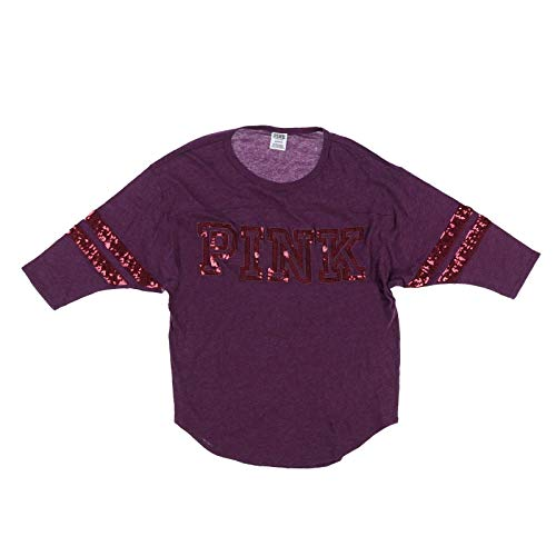 (Victoria's Secret Pink 3/4 Sleeve Boyfriend Tee with Bling (S, Burgundy))