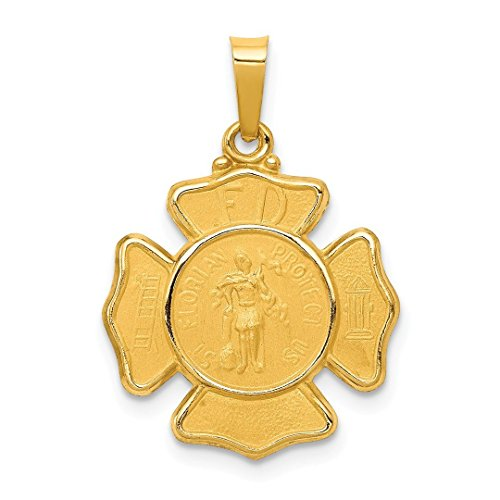 14k Yellow Gold Saint Florian Badge Medal Pendant Charm Necklace Religious Patron St Fine Jewelry For Women Gift Set (14k Charm Gold Runner)