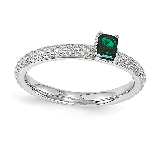 Best Designer Jewelry Sterling Silver Stackable Expressions Created Emerald Single Stone ()