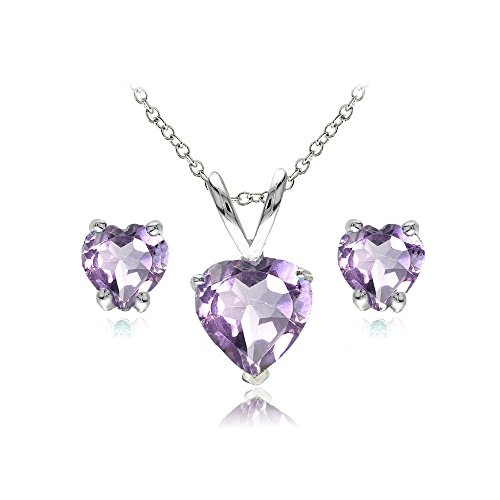 GemStar USA Sterling Silver Amethyst Heart Solitaire Necklace and Stud Earrings Set