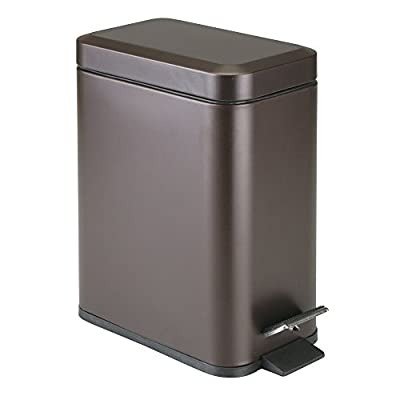 mDesign 5 Liter Rectangular Small Steel Step Trash Can Wastebasket, Garbage Container Bin for Bathroom, Powder Room, Bedroom, Kitchen, Craft Room, Office - Removable Liner Bucket
