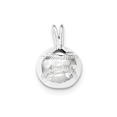 .925 Sterling Silver Diamond-Cut Baseball Charm Pendant Diamond Cut Baseball Charm
